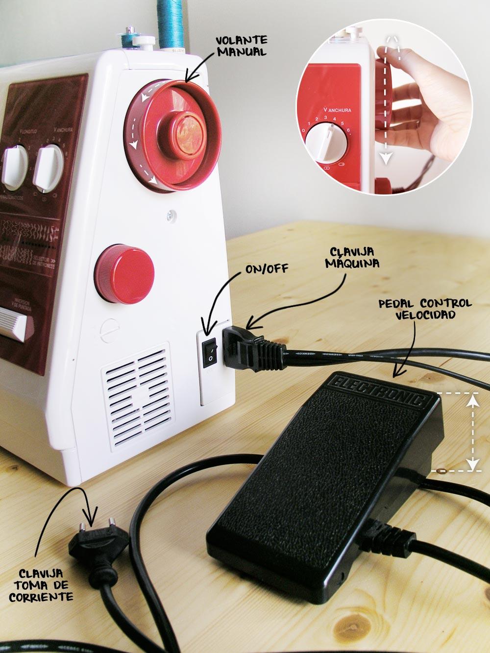 Conectar y encender la máquina de coser