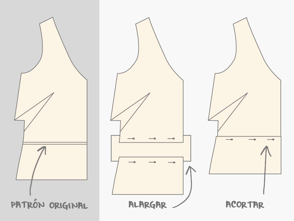 Línea para acortar o alargar un patrón