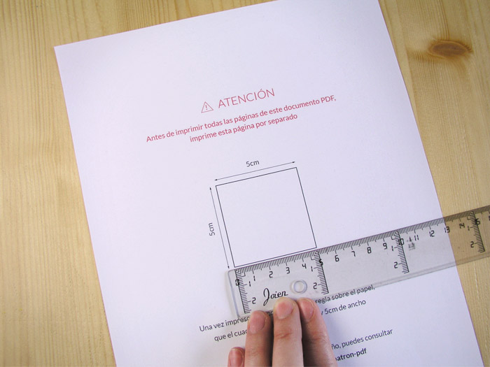 Hoja de prueba de impresión para patrón PDF