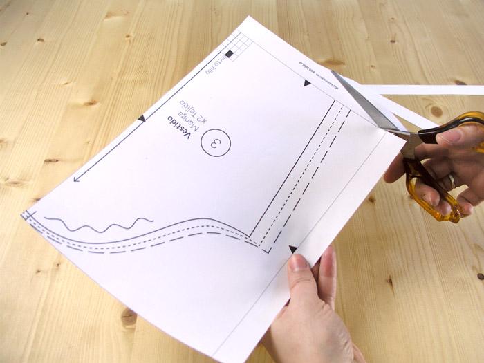 Recortar cada hoja del patrón PDF