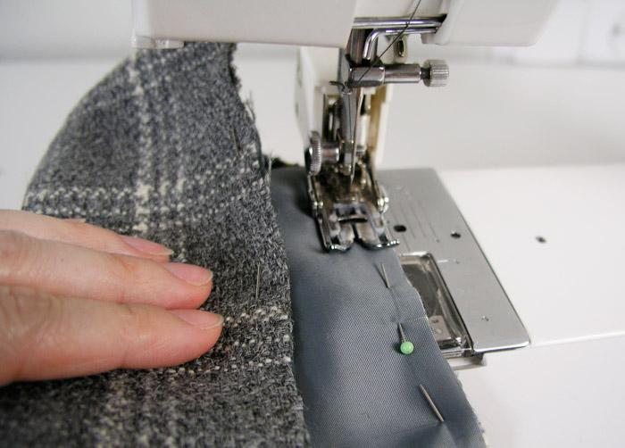 Coser el interior del bolsillo