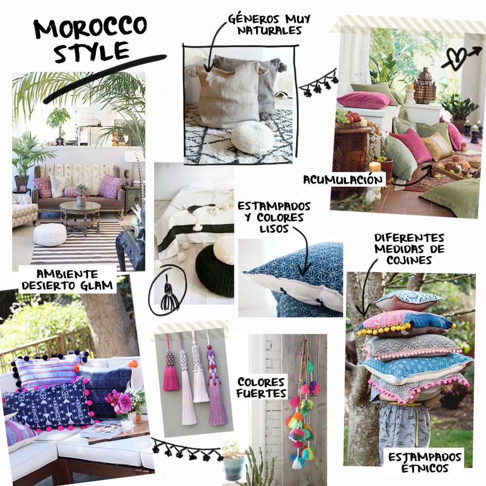 Moodboard cojines Morocco Style | Betsy Costura