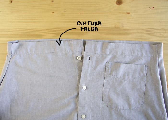 La cintura de la falda está lista para la cinta elástica.