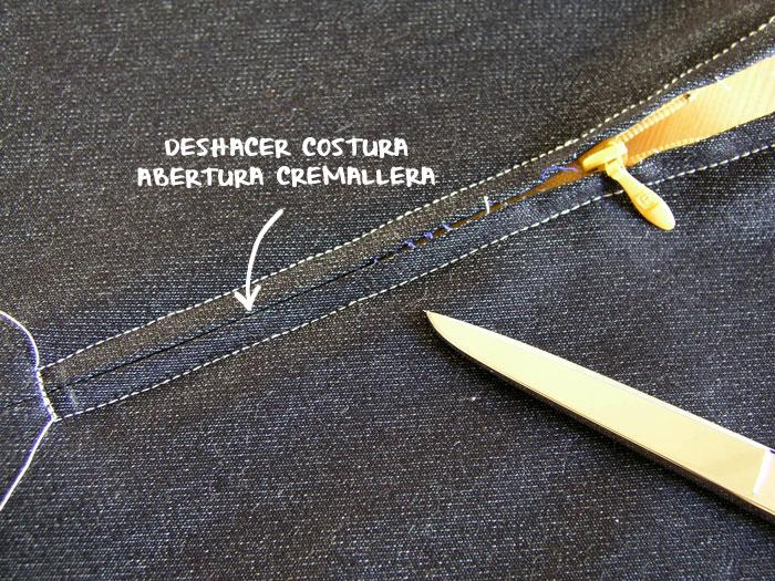 Deshacer costura hilvanada a máquina.
