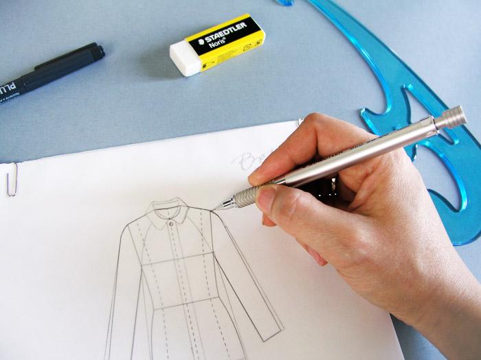Uso del lápiz portaminas en dibujo de prenda plana | Betsy Costura