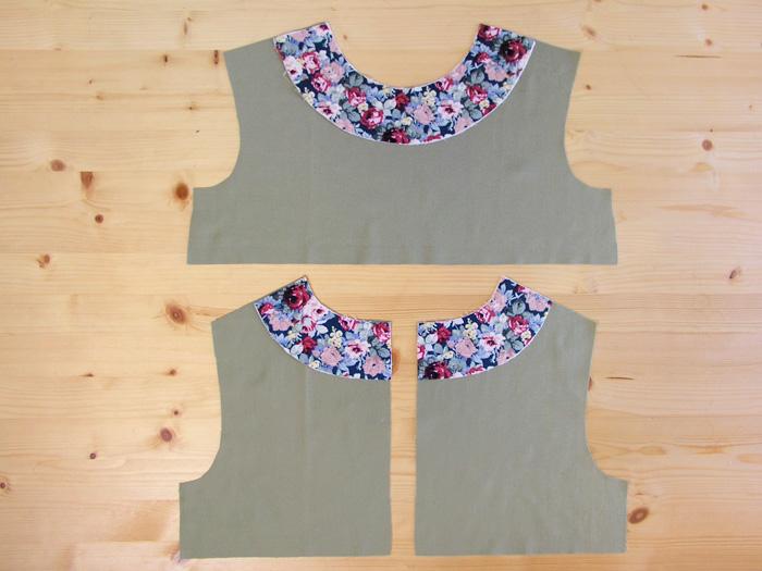 Vistas cortadas en tejido estampado colocadas en el cuerpo | Betsy Costura
