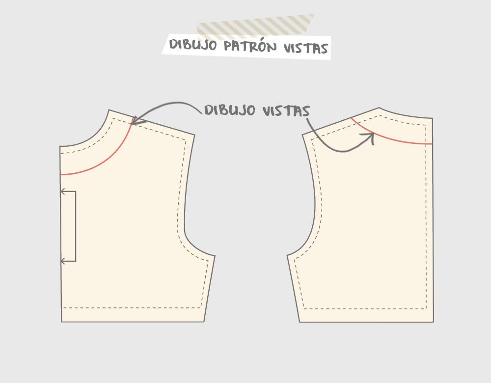 Dibujar la línea de las vistas en el patrón de cuerpo