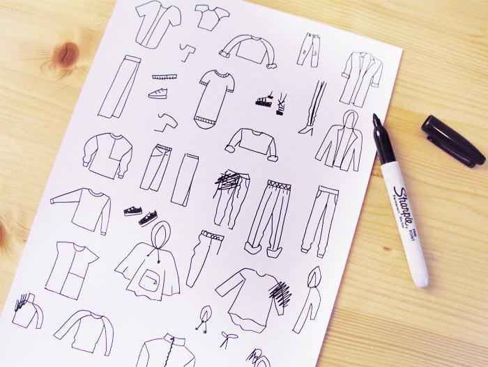 dibujos ilustraciones prendas ropa camiseta sudadera sport deportivo pantalones pantalon pantalón capucha rotulador hoja mesa