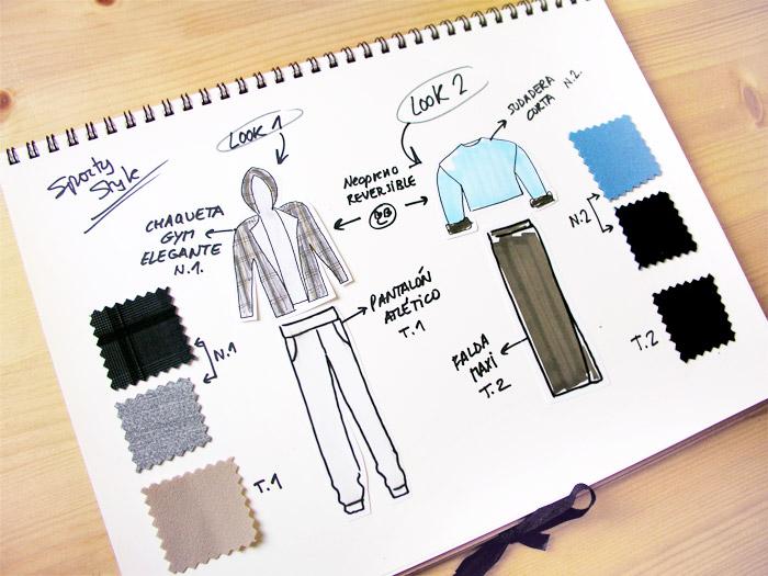 dibujos ilustraciones tejidos poliéster poliester neopreno anotaciones bloc diseño inspiración