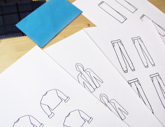 dibujos ilustraciones fotocopias colorear muestras tejidos rotuladores colores copias ropa prendas