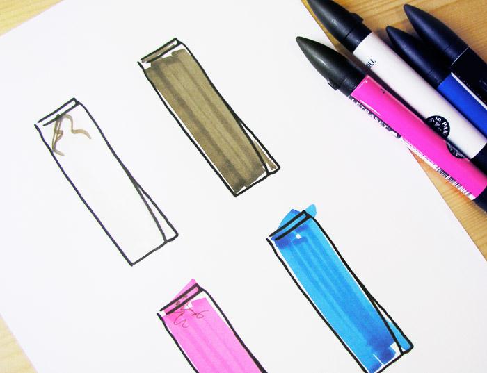 rotulador faldas crema negro fucsia turquesa azul rosa ilustración ilustracion dibujo