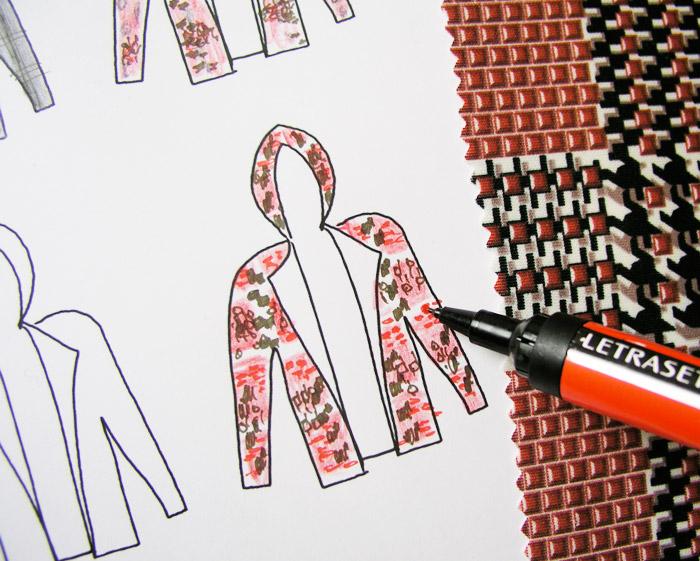 capucha sudadera dibujo ilustración colorear rotulador cuadros pata de gallo rojo negro blanco neopreno