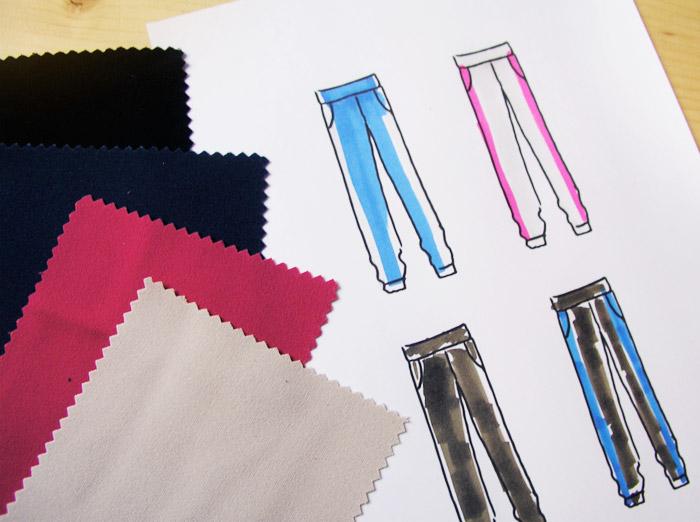 pantalones sport deportivo coloreados dibujo ilustración azul fucsia crema negro poliéster muestras tejidos
