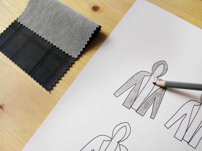 sudadera capucha lápiz gris neopreno reversible cuadros