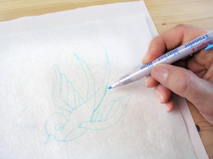 Reseguir el dibujo con el tejido debajo del papel   Betsy Costura