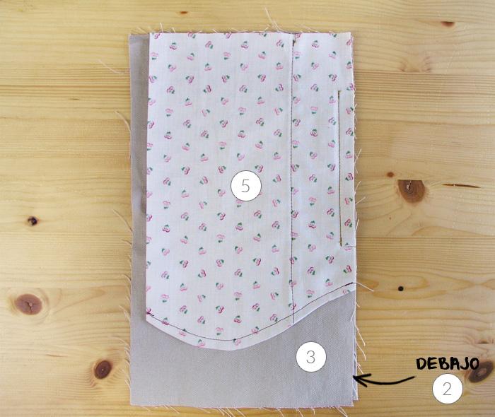 Colocar todas las piezas del bolsillos alineadasAcabar la costura francesa del fondo del bolsilloHacer costura francesa en el fondo de bolsillo | Betsy Costura